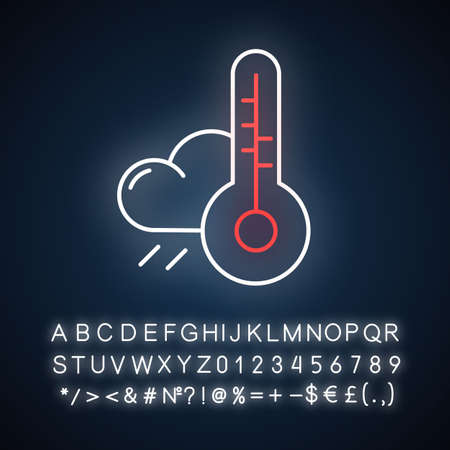 Weather forecast neon light icon. Meteorological observations. Atmospheric conditions. Rain and thermometer. Glowing sign with alphabet, numbers and symbols. Vector isolated illustration