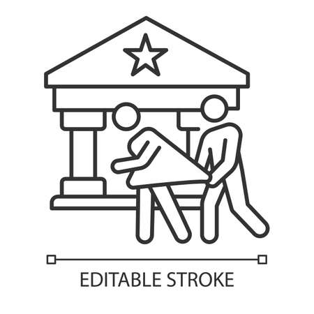 Custodial rape linear icon. Abuse of person in supervisory position. Violent behavior of policeman. Thin line illustration. Contour symbol. Vector isolated outline drawing. Editable stroke