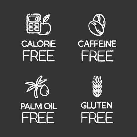 Product free ingredient chalk icons set. No calories, caffeine, palm oil, gluten. Healthy food. Low calories meals. Dietary without allergens and sweeteners. Isolated vector chalkboard illustrations