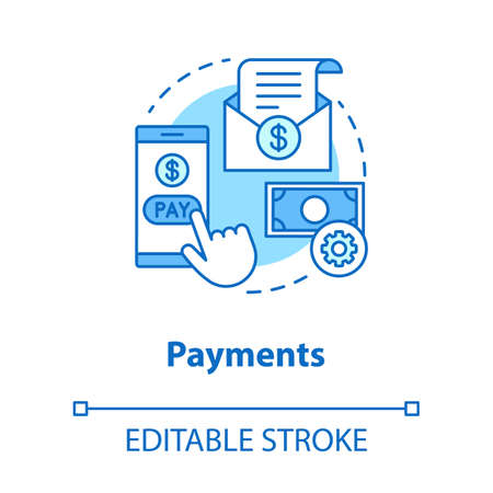 Payments concept icon. Pay online idea thin line illustration. E billing. Financial management app. Expenses tracker. Internet banking transaction. Vector isolated outline drawing. Editable stroke Ilustração