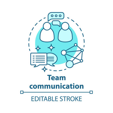 Team communication concept icon. Teamwork idea thin line illustration. Exchanging information. Networking. Talking to each other. Online chatting. Vector isolated outline drawing. Editable stroke