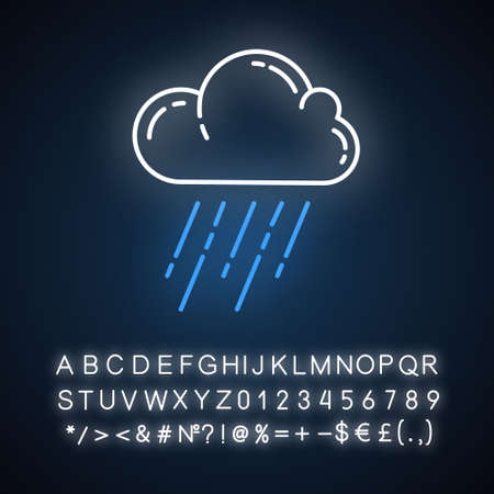 Downpour neon light icon. Rainstorm. Cloud, heavy rainfall. Torrential, pouring rain. Weather event. Monsoon season. Glowing sign with alphabet, numbers and symbols. Vector isolated illustration