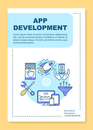 App development poster template layout. Mobile software programming. Banner, booklet, leaflet print design with linear icons. Vector brochure page layout for magazines, advertising flyers Standard-Bild - 133496925