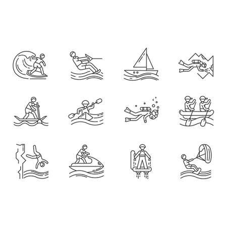 Conjunto de iconos lineales de deportes acuáticos. Buceo en cuevas, kitesurf, flyboard y motos de agua. Cliff jumping y paddle surf.Símbolos de contorno de línea delgada. Ilustraciones de contorno de vector aislado. Trazo editable