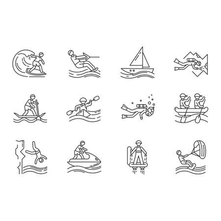 Watersports linear icons set. Cave diving, kiteboarding, flyboarding and jet skiing. Cliff jumping and paddle surfing.Thin line contour symbols. Isolated vector outline illustrations. Editable stroke