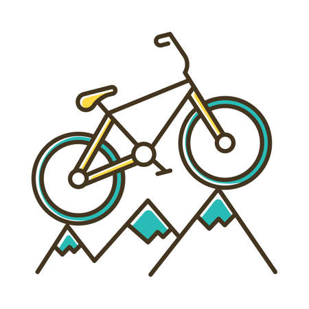 Mountain cycling color icon. Cross-country, downhill biking. Outdoor sporting activity. Riding over rough terrain. Extreme sport. Isolated vector illustration