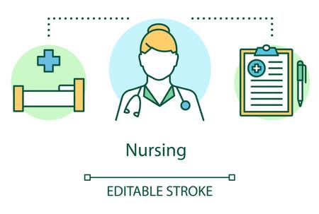 Nursing concept icon. Baby vaccination idea thin line illustration. Nurse, pediatrician, hospital. Child medical care, healthcare, doctor. Vector isolated outline drawing. Editable stroke