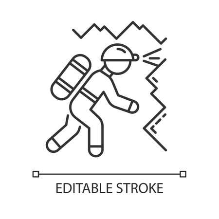 Spelunking linear icon. Caving, potholing. Exploring underground caverns. Equipped spelunker. Climbing in cave. Thin line illustration. Contour symbol. Vector isolated outline drawing. Editable stroke