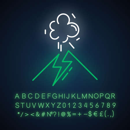 Volcanic eruption neon light icon. Geothermal power. Active volcano explosion. Seismically hazardous area. Glowing sign with alphabet, numbers and symbols. Vector isolated illustration