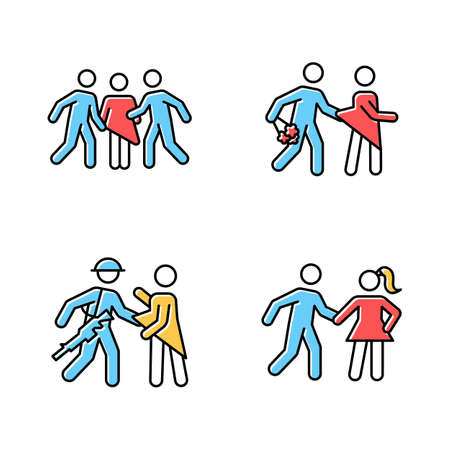 Different rape types color icons set. Sexual harassment of women. Date, statutory, war and gang rape. Sexual assaulted female victims. Victims of abuse. Isolated vector illustrations