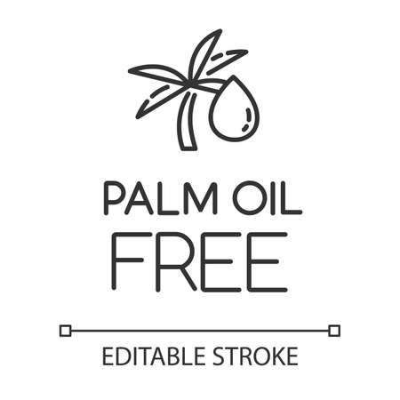 Palm oil free linear icon. Organic food without saturated fats. Product free ingredient. Natural meals. Thin line illustration. Contour symbol. Vector isolated outline drawing. Editable stroke Çizim