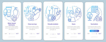 Safe onboarding mobile app page screen vector template. Female condom, dams and vaccination. Walkthrough website steps with linear illustrations. UX, UI, GUI smartphone interface concept Vetores