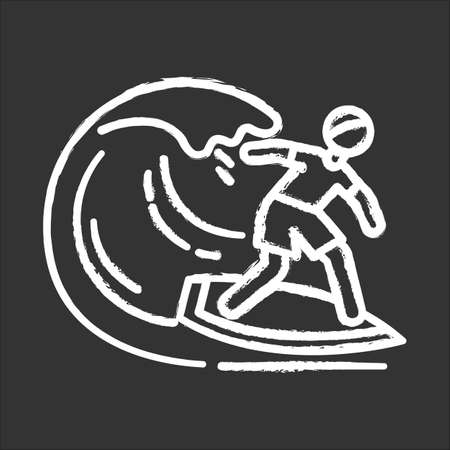Surfing chalk icon. Watersport, extreme kind of sport. Catching ocean wave, surfer balancing on board. Man in swimwear on beach. Summer activity and hobby. Isolated vector chalkboard illustration