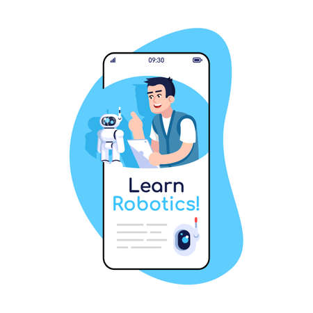 Learn robotics social media posts smartphone app screen. Mobile phone displays with cartoon characters design mockup. Studying electronics. Robot engineering application telephone interface