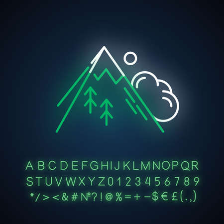 Avalanche neon light icon. Sudden landslip. Unexpected snowslide. Mass of snow and ice falling down mountain side. Glowing sign with alphabet, numbers and symbols. Vector isolated illustration Ilustración de vector
