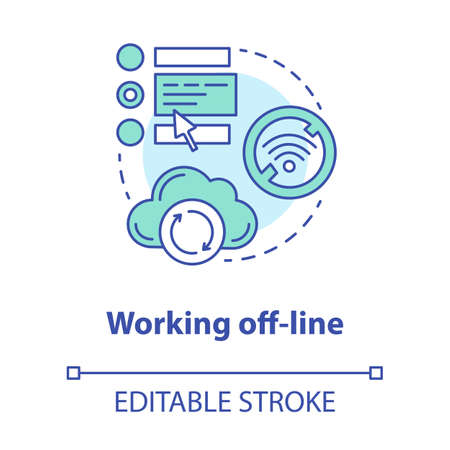 Working off-line concept icon. Software development tools idea thin line illustration. Failed synchronization. No signal. Wifi connection error. Vector isolated outline drawing. Editable stroke Illustration