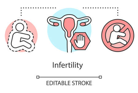 Infertility concept icon. Health problem idea thin line illustration. Reproductive system, pregnancy, gynecology. Disease, inability, failure. Vector isolated outline drawing. Editable stroke