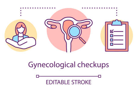 Gynecological checkups concept icon. Medical screening idea thin line illustration. Female reproductive system exam. Women health. Doctor equipment. Vector isolated outline drawing. Editable stroke