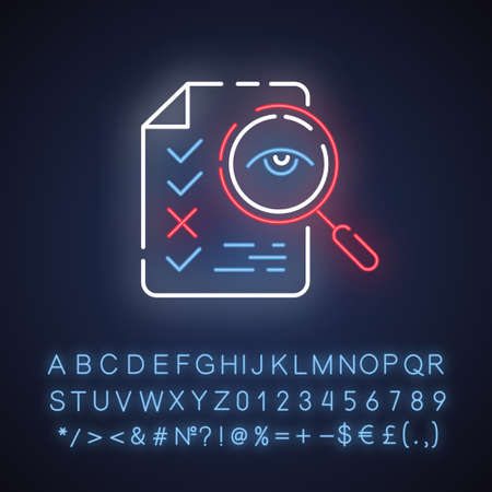Professional proofreading service neon light icon. Text editing, mistake correction. Document quality control. Glowing sign with alphabet, numbers and symbols. Vector isolated illustration