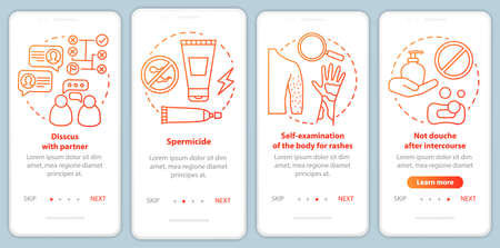 Safe sex onboarding mobile app page screen vector template. Self-examination of body for rashes. Walkthrough website steps with linear illustrations. UX, UI, GUI smartphone interface concept