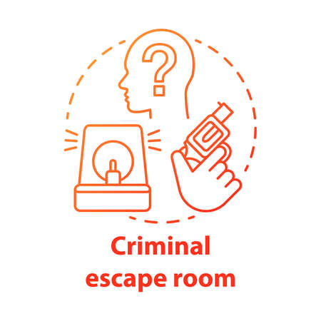 Criminal escape room red gradient concept icon. Crime theme quest idea thin line illustration. Investigation strategy game. Detective solving mystery, case, murder. Vector isolated outline drawing 일러스트