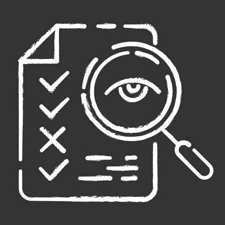 Professional proofreading service chalk icon. Text editing, mistake correction. Document quality control. Magnifier with checked list points. Isolated vector chalkboard illustration