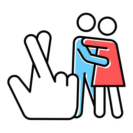 Statutory rape blue, red color icon. Harassment of females. Sexual activity with minor. Beyond law sex. Protecting youth from exploitation. Rape by deception. Isolated vector illustration Vettoriali