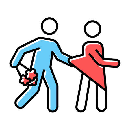 Date rape blue, red color icon. Women abuse, violent behavior. Sexual harassment of women, girls. Victim of assault. Unwanted sexual activity, sex without consent. Isolated vector illustration