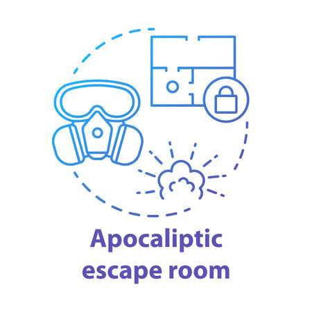 Apocalyptic escape room blue concept icon. Disaster theme quest idea thin line illustration. Nuclear war strategy game. Post apocalyptic survival. Vector isolated outline drawing 일러스트