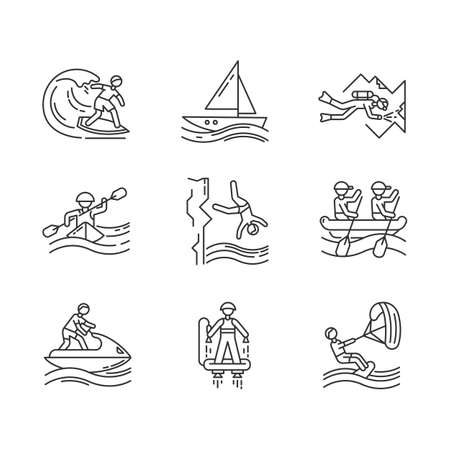Watersports linear icons set. Cave diving, surfing, flyboarding and sailing. Extreme kinds of sports.Thin line contour symbols. Isolated vector outline illustrations. Editable stroke Иллюстрация