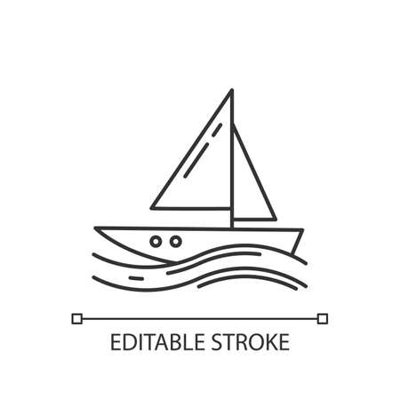 Sailing linear icon. Thin line illustration. Watersport, extreme kind of sport. Yachting and navigation. Voyage, boat on ocean waves. Contour symbol. Vector isolated outline drawing. Editable stroke Illusztráció