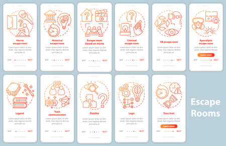 Escape room onboarding mobile app page screen set with linear concepts. Quest game classification. Walkthrough red gradient graphic instructions. UX, UI, GUI vector template illustrations pack