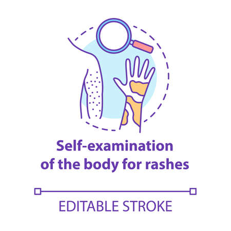 Body self-examination concept icon. Rash, eczema symptoms, signs. Inflammation, itchiness on skin. Safe sex. Dermatology idea thin line illustration. Vector isolated outline drawing. Editable stroke