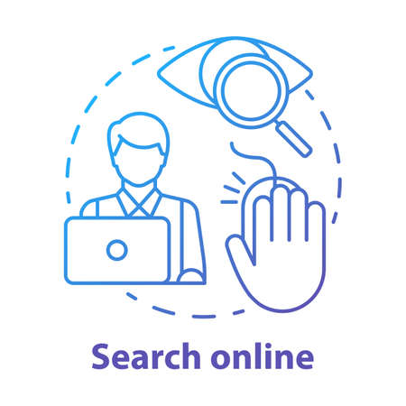 Search online concept icon. Searching for information on Internet. Data researching. Secretary, assistant work idea thin line illustration. Vector isolated outline drawing