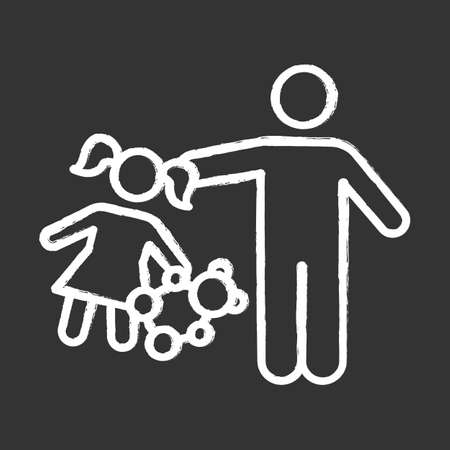 Rape of children chalk icon. Child sexual harassment, abuse. Victim of assault. Sexual exploitation of kids. Pedophilia of abusers, offenders. Isolated vector chalkboard illustration Çizim