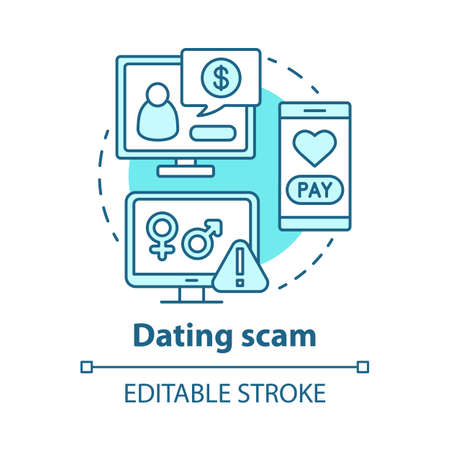 Dating scam concept icon. Love cheating, fraud. Feigning of romantic intentions. Mail order bride swindle idea thin line illustration. Vector isolated outline drawing. Editable stroke Vektorové ilustrace