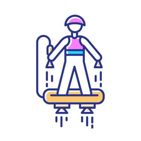 Flyboarding color icon. Watersports, extreme and dangerous modern leisure. Recreational outdoor activity. Flying above sea and ocean. Hydroflight sport. Isolated vector illustration