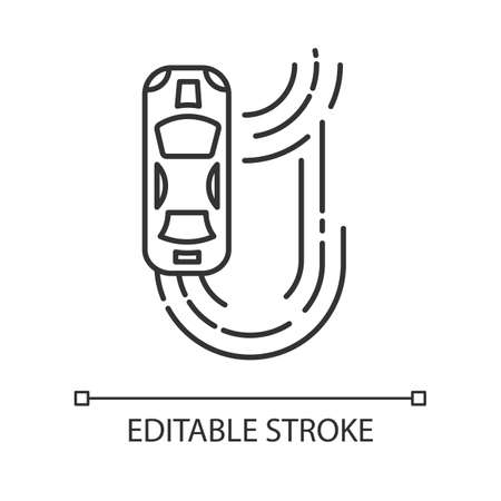 Auto racing linear icon. Two-seater vehicle on track. Automobile drift. Sliding motorcar. Production car race. Thin line illustration. Contour symbol. Vector isolated outline drawing. Editable stroke