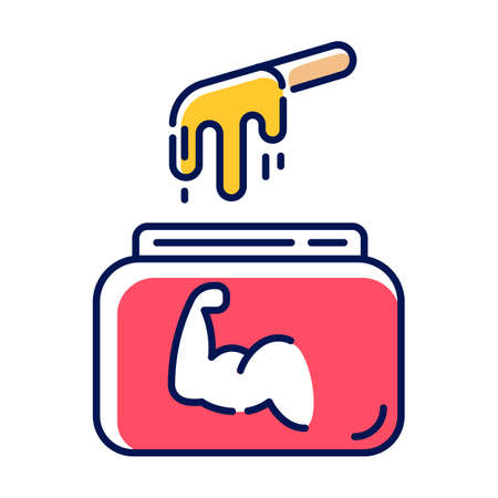Hard waxing color icon. Natural cold wax in jar with spatula. Body hair removal equipment. Tools for depilation. Professional beauty treatment cosmetics. Isolated vector illustration Vettoriali