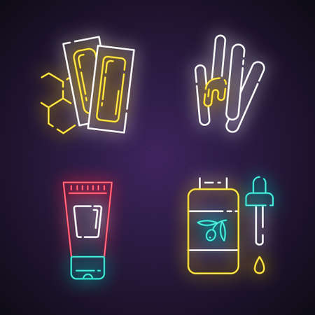 Waxing tools neon light icons set. Hot, soft wax strips with spatula. Hair removal equipment. Body lotion, oil for depilation. Beauty treatment. Glowing signs. Vector isolated illustrations