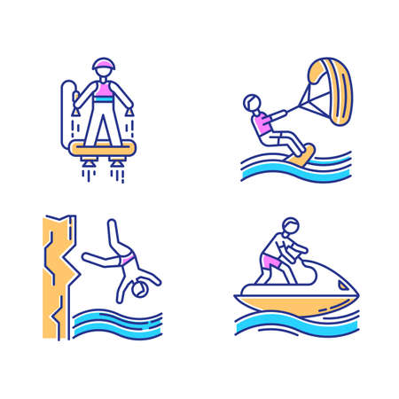 Watersports color icons set. Flyboarding, kiteboarding, cliff diving and jetskiing. Extreme kinds of sport. Summer vacation adventure. Ocean and sea beach leisure. Isolated vector illustrations Illustration