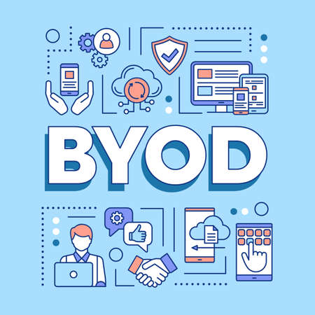 BYOD word concepts banner. Bring your own device. Using personal gadgets on workplace. Presentation, website. Isolated lettering typography idea with linear icons. Vector outline illustration