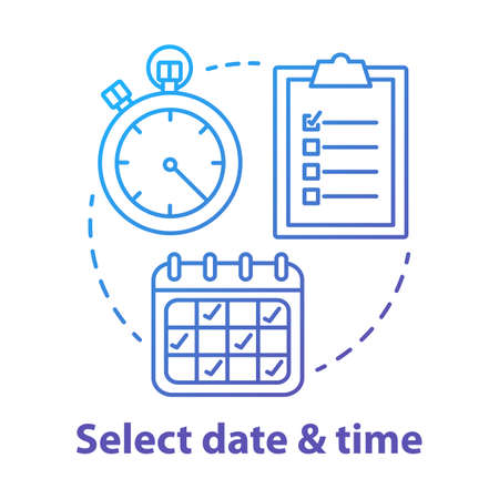 Select date and time blue concept icon. Choose day and hour thin line illustration. Making reservation, booking.Time management and scheduling. Calendar and stopwatch. Vector isolated outline drawing