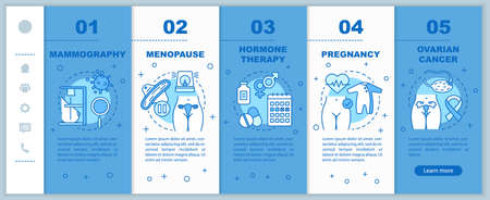 Women healthcare onboarding mobile web pages vector template. Pregnancy, ovarian cancer, menopause. Responsive smartphone website interface idea. Webpage walkthrough step screens. Color concept Illustration