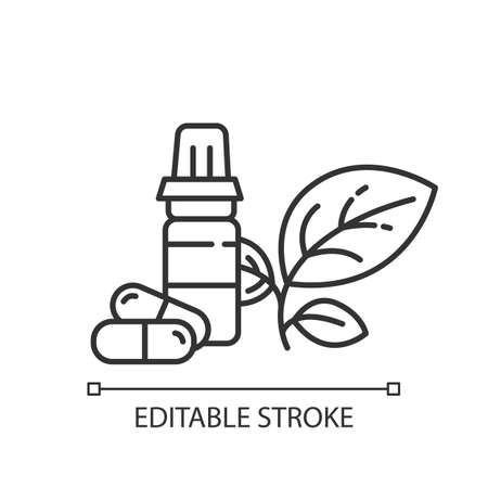 Health products linear icon. Medication and pills. Vitamins and dietary supplements. E commerce department. Thin line illustration. Contour symbol. Vector isolated outline drawing. Editable stroke