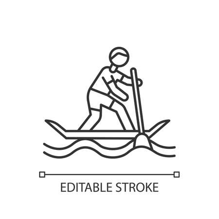 Paddle surfing linear icon. Thin line illustration. Sup boarding watersport, extreme kind of sport.Risky and adventurous leisure.Contour symbol. Vector isolated outline drawing. Editable stroke