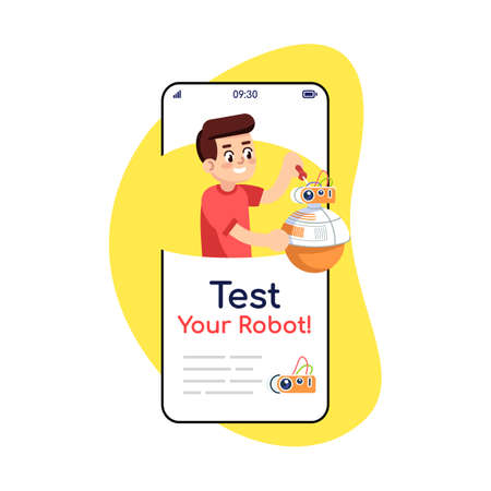 Test your robot social media posts smartphone app screen. Mobile phone displays with cartoon characters design mockup. Electronic construction assembly instruction application telephone interface