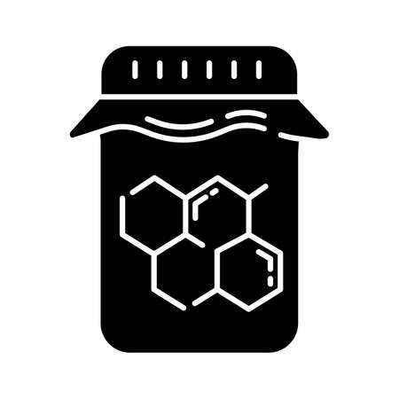 Honey wax jar glyph icon. Natural hard cold waxing product. Hair removal equipment. Tools for depilation. Professional beauty cosmetics. Silhouette symbol. Negative space. Vector isolated illustration