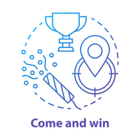 Come and win blue gradient concept icon. Victory idea thin line illustration. Game winner award. Success, accomplishment and triumph. Goal, target achieving. Vector isolated outline drawing