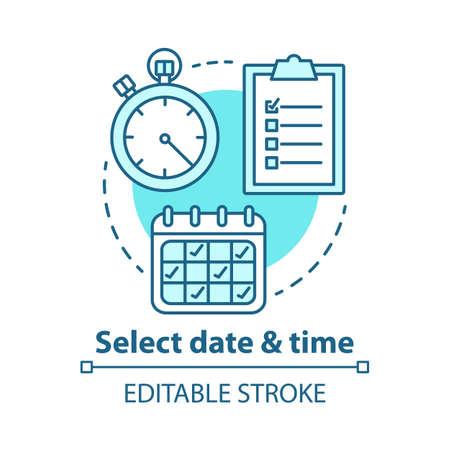 Sélectionnez l'icône de concept de date et d'heure. Choisissez le jour, l'illustration de la ligne fine de l'heure. Faire une réservation. Gestion du temps, planification. Calendrier, chronomètre. Dessin de contour isolé de vecteur. Trait modifiable